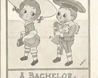"Big Eyed Children ""A Bachelor doesn't know..."" 1911 Vintage  Postcard Cute Artist Signed H Horina over 100 years old"