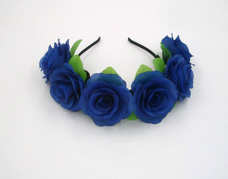 Navy blue flower crownblue rose headbandblue flower zoom izmirmasajfo Gallery