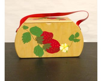 Vintage Hand Painted Strawberry Wooden Handbag Purse