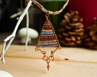 Seed beads triangle necklace • geometric wire wrap necklace • beaded necklace pendant • beaded choker necklace • brown and gold necklace