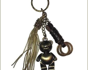 ღ jewel with Teddy bear jointed metal bag with ღ leather straps / unique