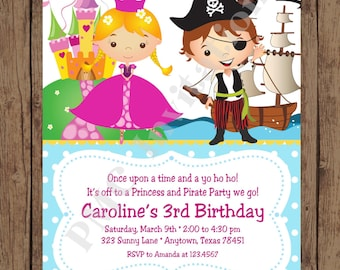 Custom PRINTED Blonde Princess and Pirate Birthday Invitations - 1.00 each with envelope