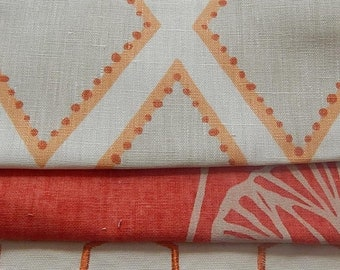 CLEARANCE - 3 pieces orange ivory multi fabrics, 7.5 x 9 inches