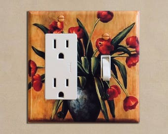 Red Tulips - Light Switch Plate Covers Home Decor Outlet
