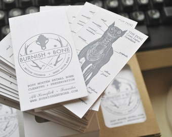 300 Double sided letterpress business cards. Double sided letterpress printed calling cards