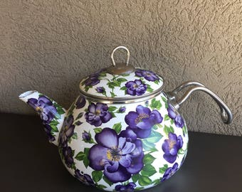 Interos Enamel Tea Kettle Vintage Purple Floral Teapot ~ #T0510