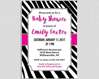 Zebra Print Baby Shower Invitation, Hot Pink & Black Zebra Stripe Baby Shower Invite, Baby Girl, DIY PRINTABLE