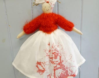 Handmade cloth doll with cabbages and roses cerise Hatley skirt, gift for her,