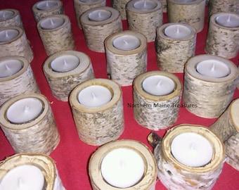 Set 20  Maine white birch Bark Tealight candle Holders-Rustic Wedding Decor