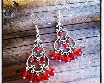 Earrings silver and faceted red glass beads