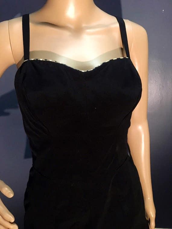 1950s Never Worn Catalina Black White Gingham Bathing Suit Medium