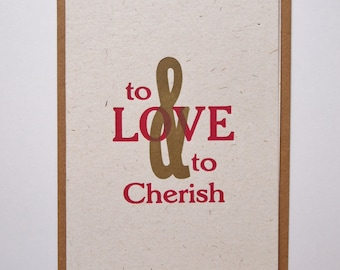 To Love and To Cherish letterpress wedding card