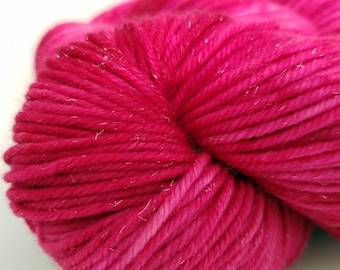 Perfect Rose, Pink, Bright Pink, Tonal, Merino, Silver Sparkle DK, ColorPurl Hand Dyed DK Weight Yarn, Superwash, 231 yards