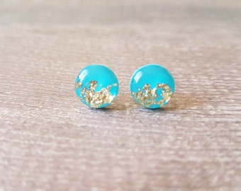 Turquoise and gold earrings, Minimalist earrings turquoise, Turquoise stud earrings, Turquoise earrings stud, Gold and turquoise earrings