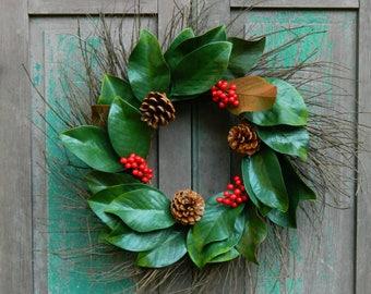 Magnolia Wreath - Farmhouse Wreath - Christmas Wreath