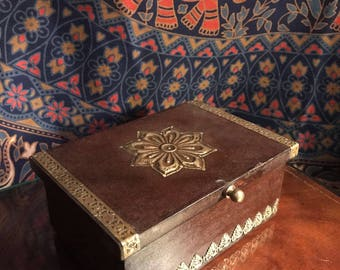 Handmade wooden box with gold detail