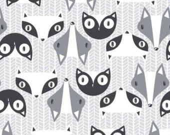 Large Custom Raccoon, Badge, Fox - Black, White and Gray Flannel Baby Blanket