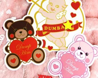 Large Valentine's Day Vinyl Stickers - Dump Him Bear and Stupid Cupid