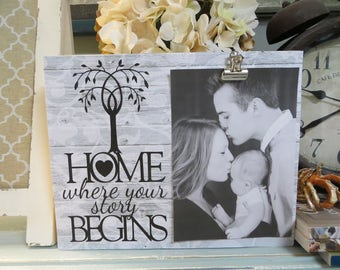 """Wood Picture Frame, """"Home Where Your Story Begins"""", Custom Family Picture Frame, 8 x 10 Picture Frame, Family Photo Frame"""