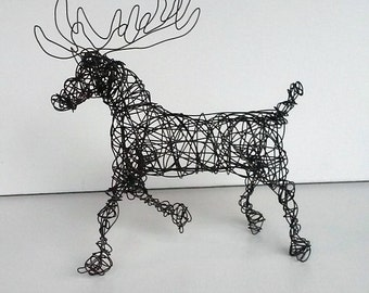 Unique Wire Animal Sculpture - CARIBOU - Wildlife Sculpture - One of a Kind