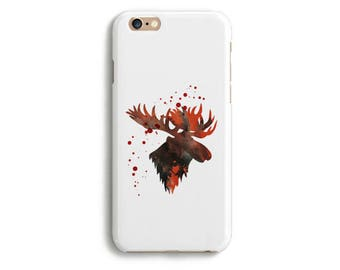 Moose Case Phone iPhone X 8 7 6 6s Tough Slim Plus 5 5s 5c SE Samsung Galaxy S6 S7 Edge Watercolor Silhouette Animal Savage Nature Colorful