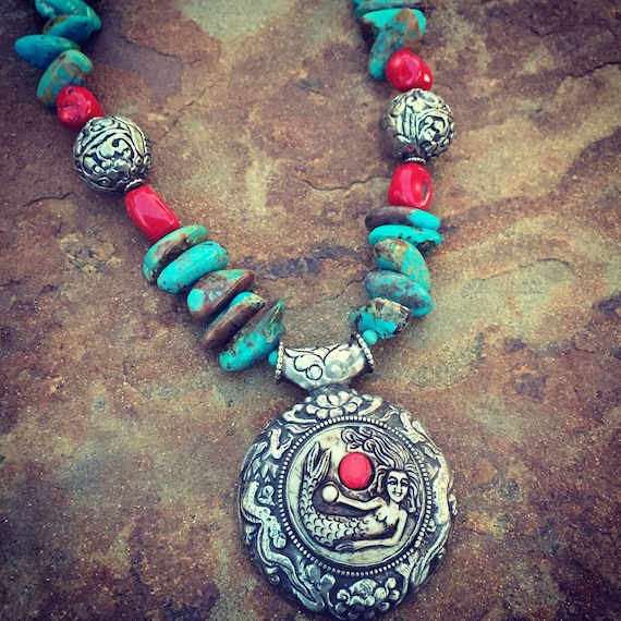 Genuine Turquoise and Coral with Mermaid Nepalese Silver Statement Necklace and Earrings Set