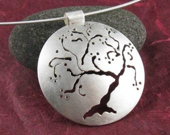 Sterling Silver Cherry Tree Pendant, Handmade
