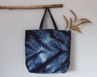Hand Dyed Shibori Canvas Tote || Feather Collection