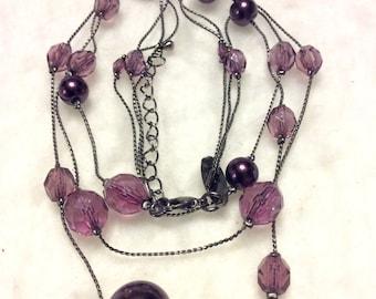 Vintage signed NY purple amethyst multi strand necklace