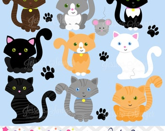 INSTANT DOWNLOAD, kitty cat clipart, cat clip art, for personal and commercial use