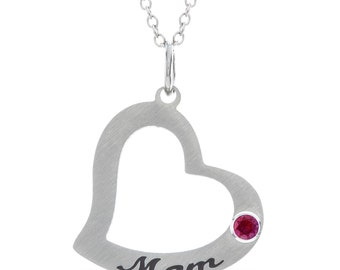 Personalized Mom Heart Gift for Mom Necklace, Mom Heart Pendant With Personalized Birthstone In Stainless Steel, Heart Mom Stamped Necklace