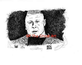"Original Art Brock Lesnar WWE UFC Wrestling MMA Limited Edition of 50 Artist-Signed & Numbered Ink Drawing 8.5"" x 11"" Print"