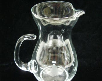 Vintage Etched Clear Glass Pitcher Flower Pattern