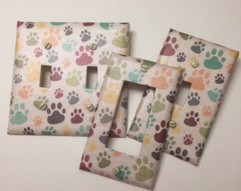 Multi color dog paws,light plate cover,light switch plate, outlet cover, outlet plate, home decor, wall art