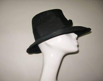 "1960's Black Straw ""Top Hat"" with Grosgrain Trim!"