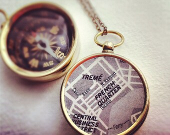 French Quarter Map Compass Necklace, personalized New Orleans map, choose your city map, personalized anniversary gifts