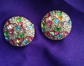 Vintage, Swarovski , Crystal, clip on earrings