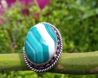 Botswana agate ring, size 56 or 7.5 US, stone of support in our projects