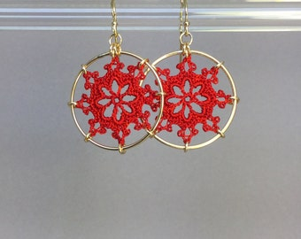 Nautical doily earrings, red hand-dyed silk thread, 14K gold-filled