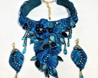 """Necklace - stand and earrings """"Sea breeze"""""""