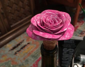Hot Pink Rose Wine Bottle Stopper