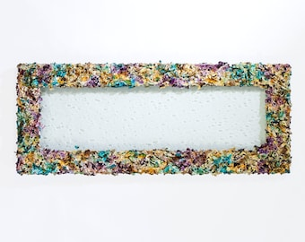 Bubble glass window frame- Jackson Pollock-inspired wall sculpture, purple and blue, bathroom decor, chandelier