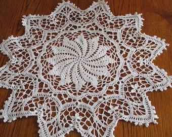 Round white doily handmade crochet