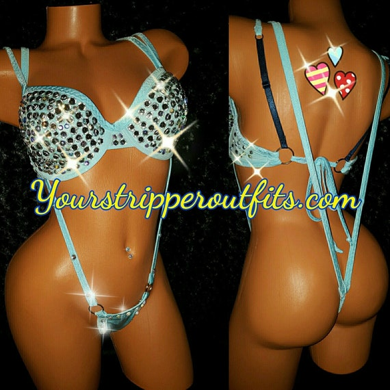 Large 38B-36D Adjustable, Ready to ship. Baby Blue Rhinestone Stripper Bra,Sling Shot thong,  stripper clothes, exoticwear, bling.