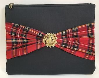 Large Clutch Purse - Royal Stewart Tartan Detail - Floral Center Piece