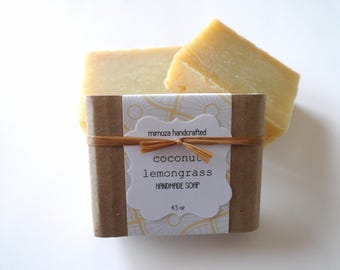 Handmade Coconut Lemongrass Soap, Cold Process Soap, Vegan Soap 4.5oz