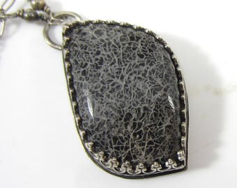 Crackled Teardrop Necklace - Sterling Silver and Handcut Crackled Stone
