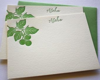 Kukui Letterpress Cards Aloha Mahalo Dark Green
