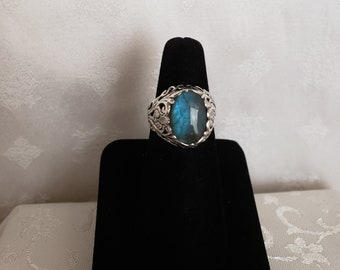 Lucky Heather Art Nouveau Labradorite Ring in Sterling Silver -EB839