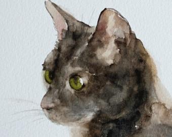Small Cat Art PRINT  5 x 7 of original watercolor cat painting, cute Grey Cat Print Gray Cat PRINT in green tan brown pet lover gift dp